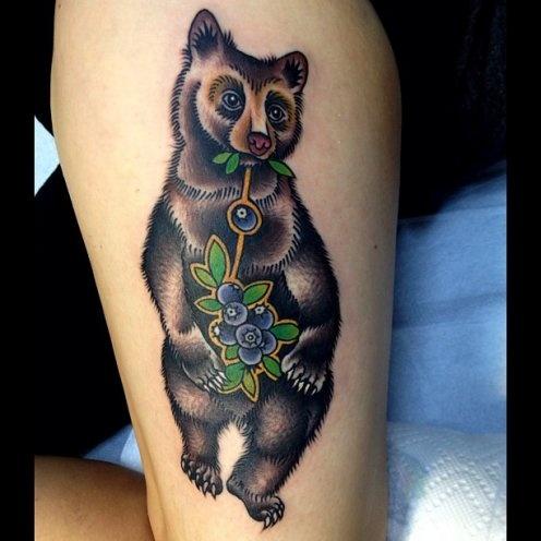 virginia elwood tattoo bear eats blueberries