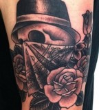 virginia elwood tattoo skull and rose