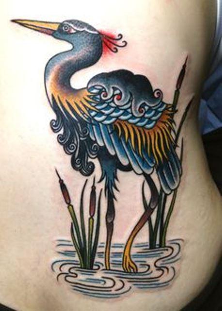 virginia elwood tattoo stork in water