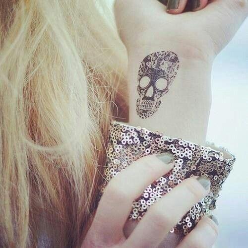 wrist tattoo skull