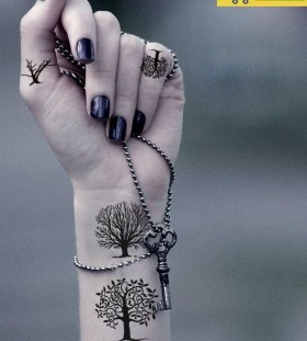 wrist tattoo trees grow up
