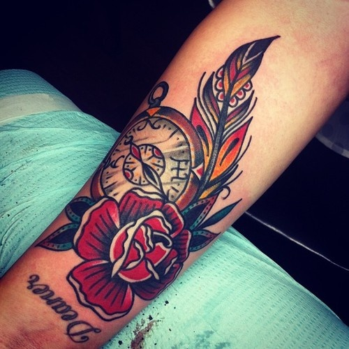Clock and rose tattoo by Josh Stephens