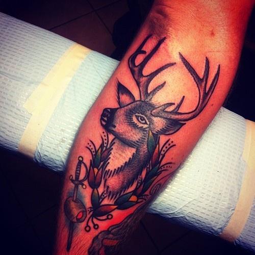 Deer tattoo by Josh Stephens