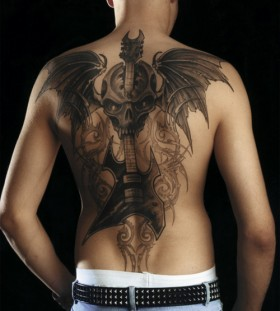 Amaizing back  music tattoo