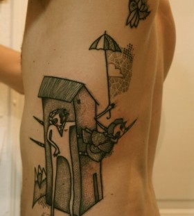 Amaizing house on human body abstract character tattoos
