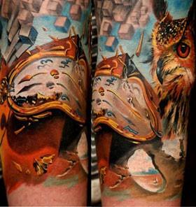 Amaizing man and owl photorealistic tattoo