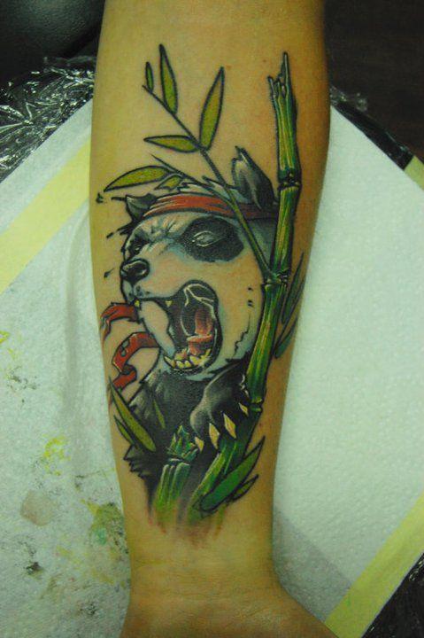 Angry panda tattoo by Jukan
