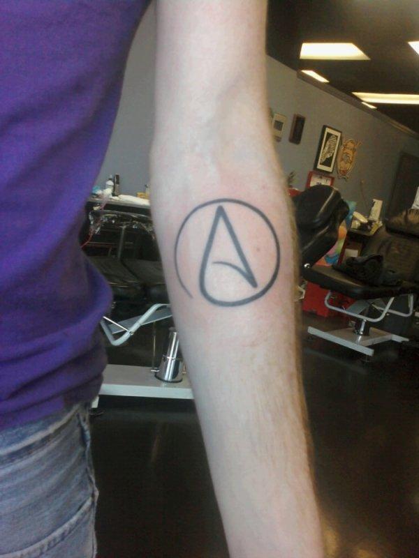 Atheism symbols tattoo