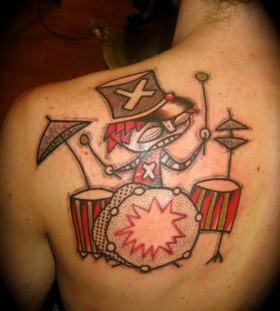 Awesome back abstract character tattoos