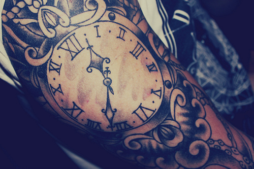 Awesome clock tattoo