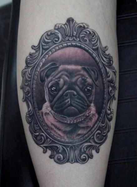Beautiful dog tattoo in the frame