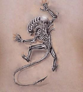 Black and white alien tattoo