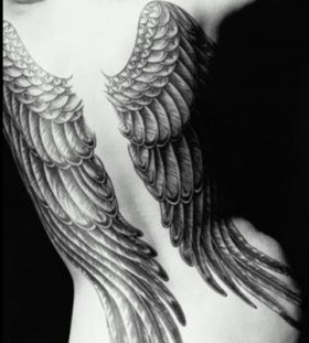 Black and white angel wings tattoo