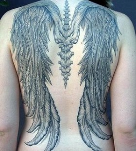 Black angel wings tattoo