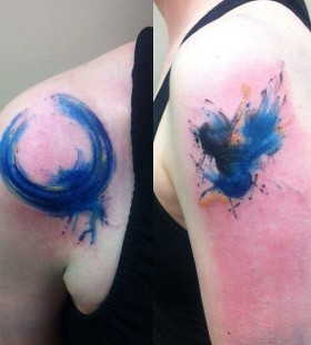 Blue bird tattoo by Mel Wink