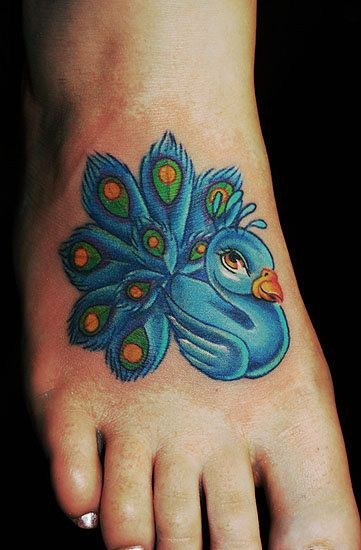 Blue peacock cartoon tattoos