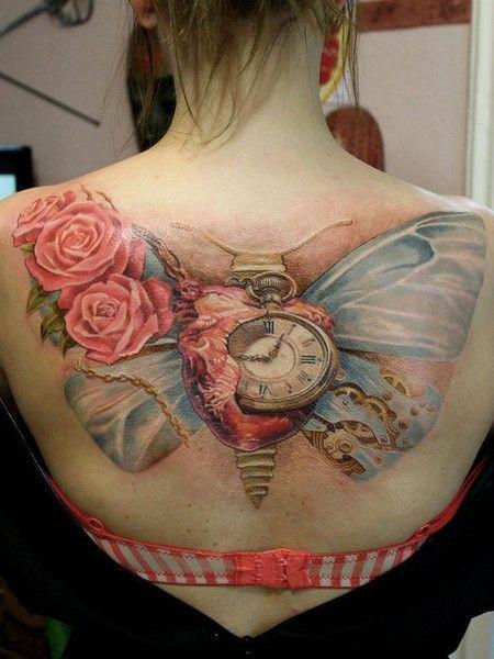 Butterfly clock tattoo