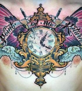 Clock chest tattoo