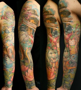 Colorful arms tattoo by Jee Sayalero