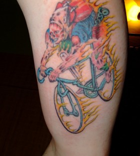 Colorful biker tattoo