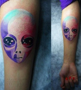 Colorful hand alien tattoo