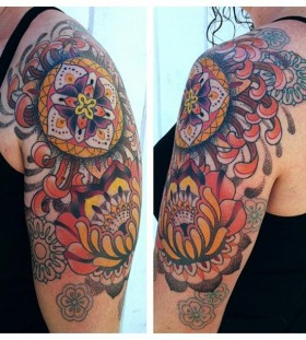 Colorful ornaments tattoo by Gemma Pariente