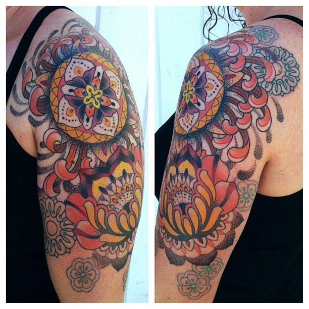 Colorful ornaments tattoo by Gemma Pariente