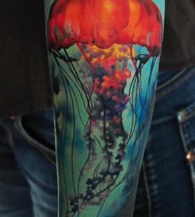Colorful photorealistic tattoo