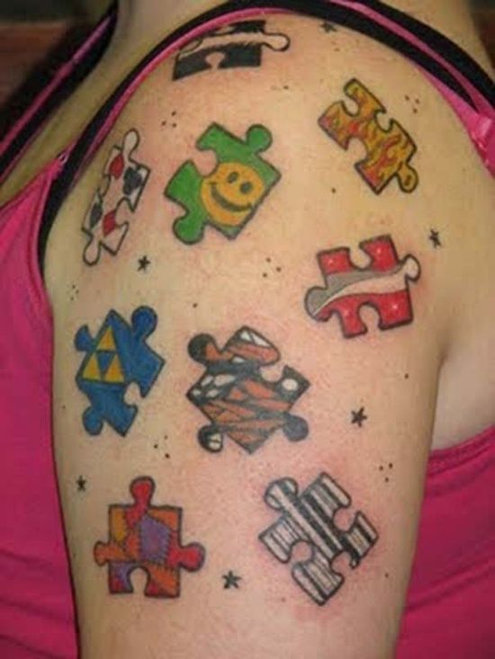 Colorful puzzle tattoo