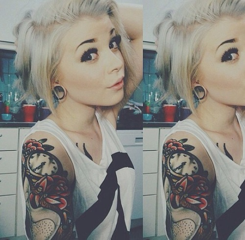 Cool woman clock tattoo
