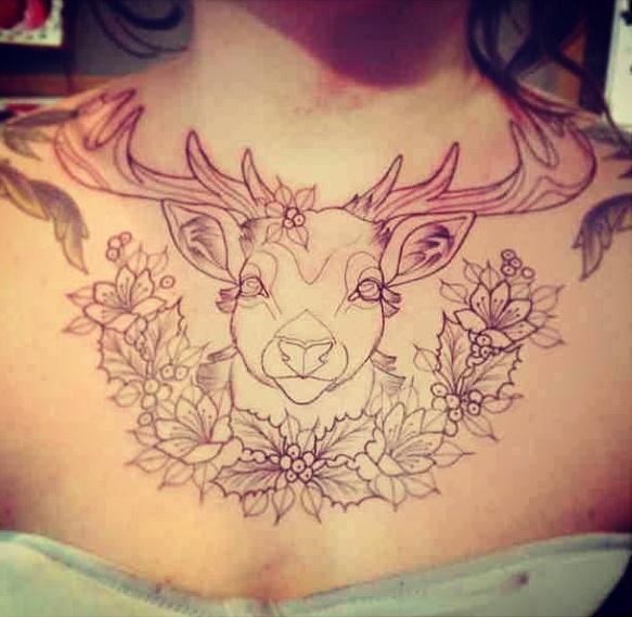Cute Deer Chest Tattoo Tattoomagz Tattoo Designs Ink