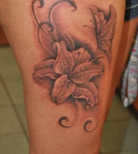 Cute flower tattoo by Corey Miller