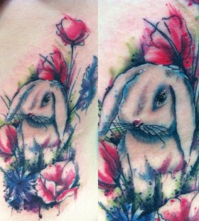 Cute rabbit tattoo by Mel Wink