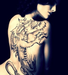 Dragon tattoo back and white for girl