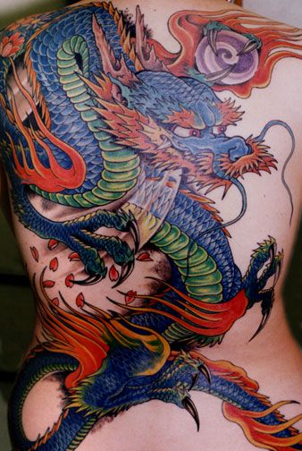 Dragon tattoo  cool colors