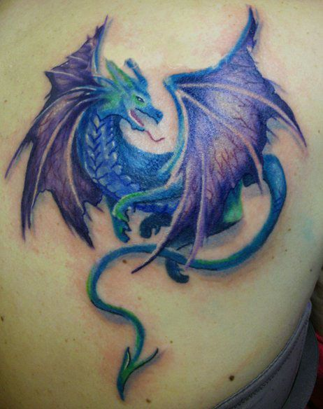Dragon tattoo  green smiling dragon