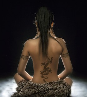 Dragon tattoo meditation girl