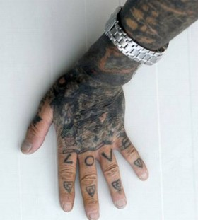 Fingers and hand prison tattoos