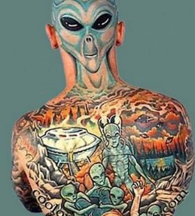 Full body alien tattoo