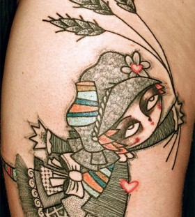 Girl abstract character tattoos