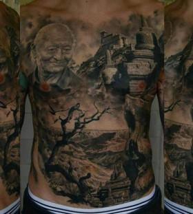 Gorgeous town chest tattoo