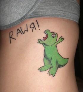 Green dinosaurs cartoon tattoos