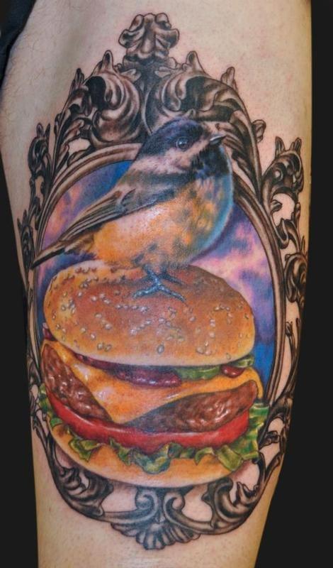 Hamburger and bird food tattoo