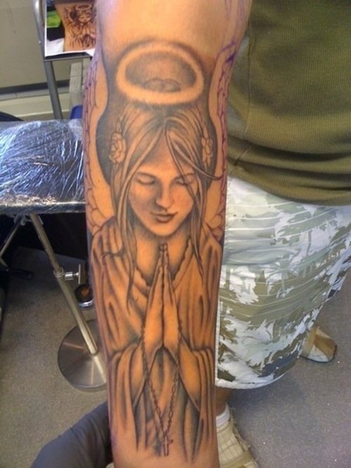 Hand angel wings tattoo