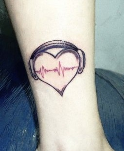 Heart and love  music tattoo