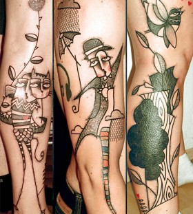 Human and cats abstract character tattoos