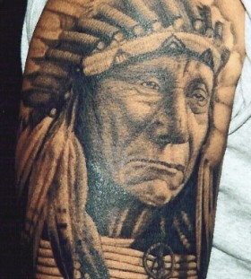Indian chief portrait tattoo by Corey Miller