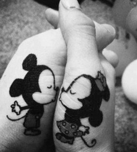 Kissing mousers cartoon tattoos