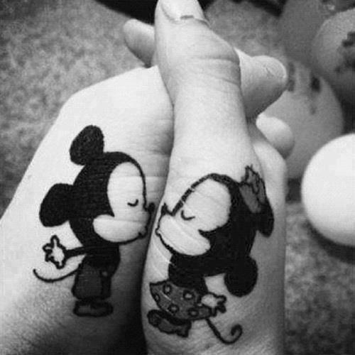 Kissing mousers cartoon tattoos