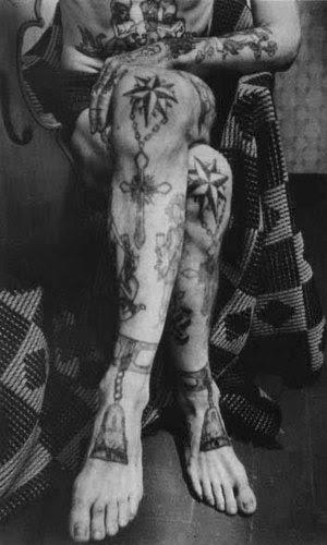 Legs prison tattoos